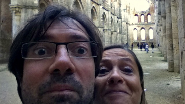 perhaps the only selfie you'll see in this web site. here we are visiting the surroundings of Siena